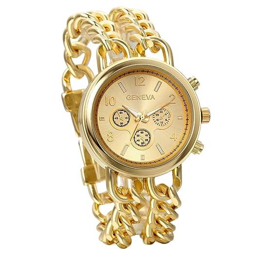 Jewelrywe Relojes de hombre mujer, pulsera de cadena oro dorado, relojes grandes de acero inoxidable, 3 ojos decorativos diseño único de 2016, ...