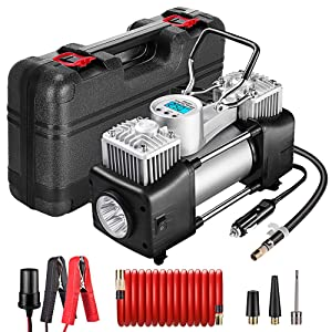 Yome Portable Dual Cylinder Air Compressor Pump, 12V Heavy Duty Portable Air Pump with LED Flashlight and LCD Digital Display Gauge for Car Tires, Balls, Other Inflatables