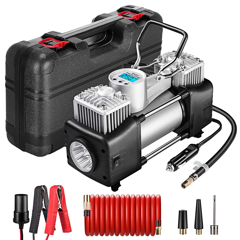 Yome Portable Dual Cylinder Air Compressor Pump, 12V Heavy Duty Portable Air Pump with LED Flashlight and LCD Digital Display Gauge for Car Tires, Balls, Other Inflatables by Yome