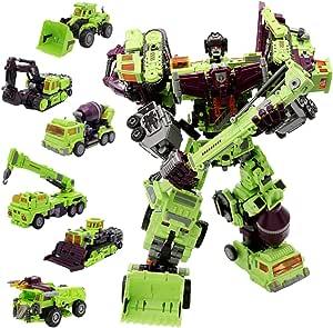 NBK Deformation Oversize Toys Robot Devastator TF Engineering Combiner 6 in 1 Action Figure Car Truck Model Gift for Kids Boys (Green)