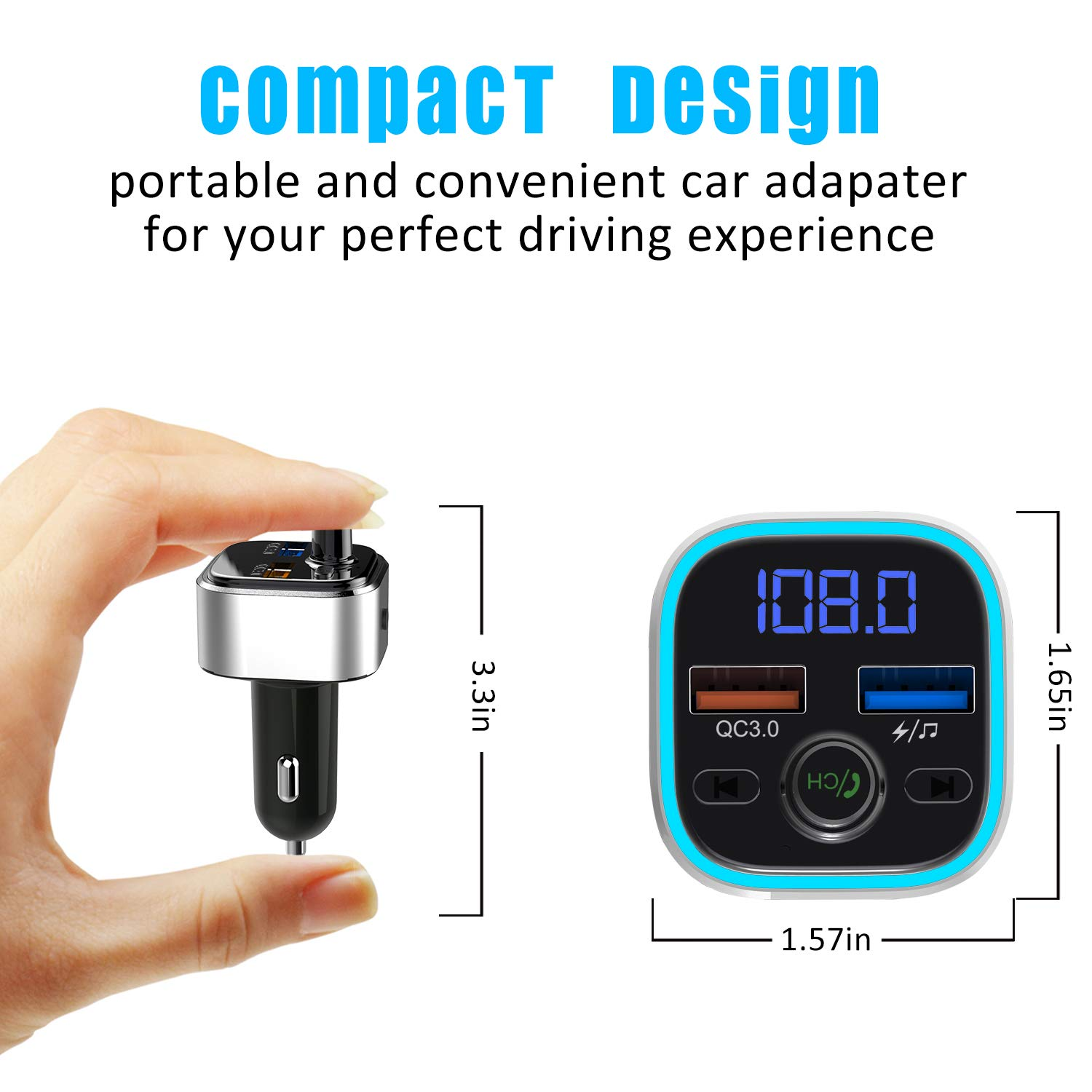Quick Charge 3.0 USB Wireless Radio Transmitter Adapter Support USB Flash Drive microSD Card Bluetooth FM Transmitter for Car Handsfree Car Kit