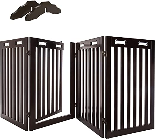 Arf Pets Free Standing Wood Dog Gate with Walk Through Door, Expands Up to 80