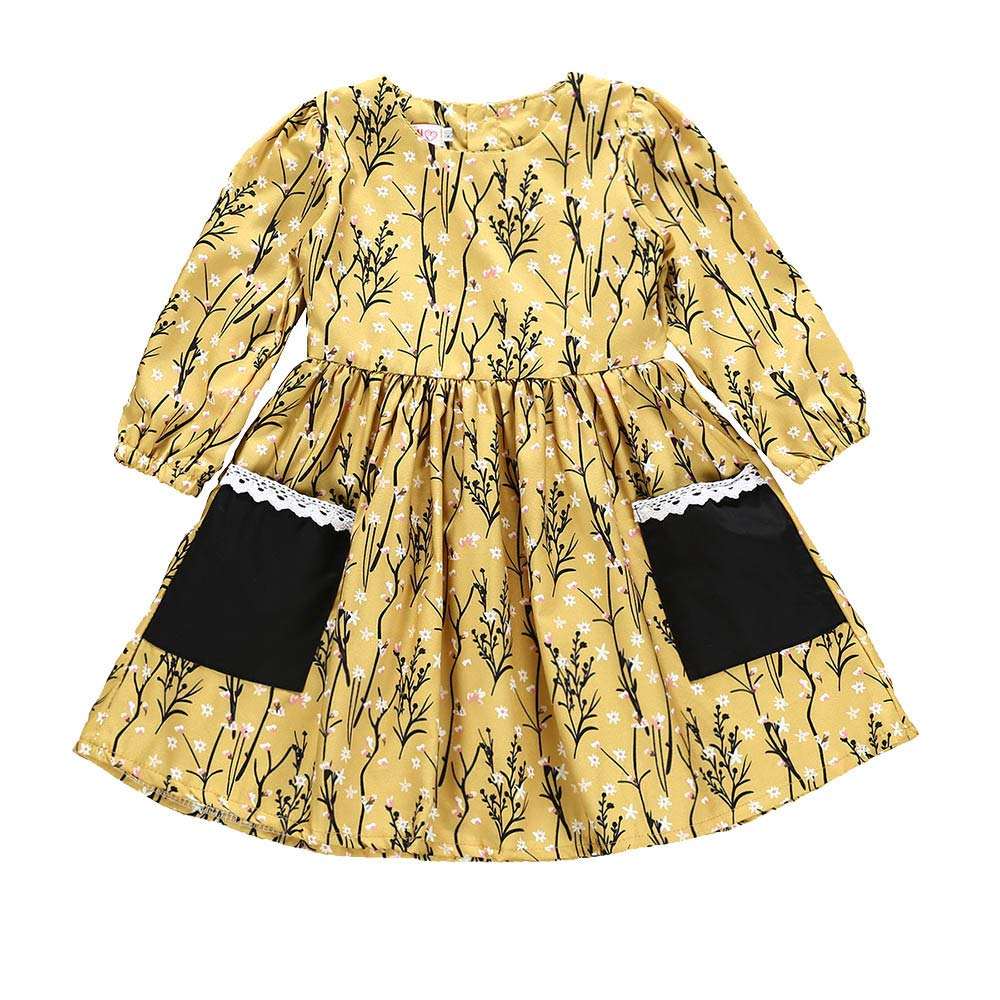 KONFA Toddler Baby Girl Autumn Floral Pocket Dress 0-4 Years,Little Princess Long Sleeve Skirt Fall Clothes