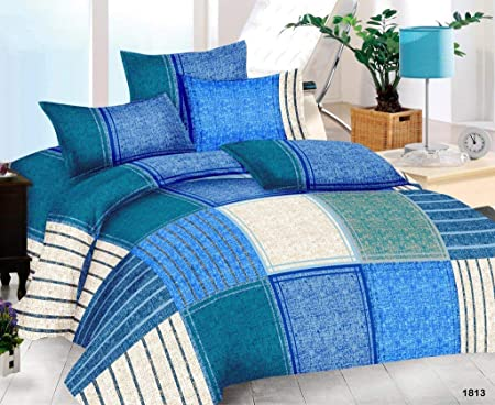 The Intellect Bazaar 152 Tc Cotton Fitted Elastic Bedsheet With 2 Pillow Covers, Blue