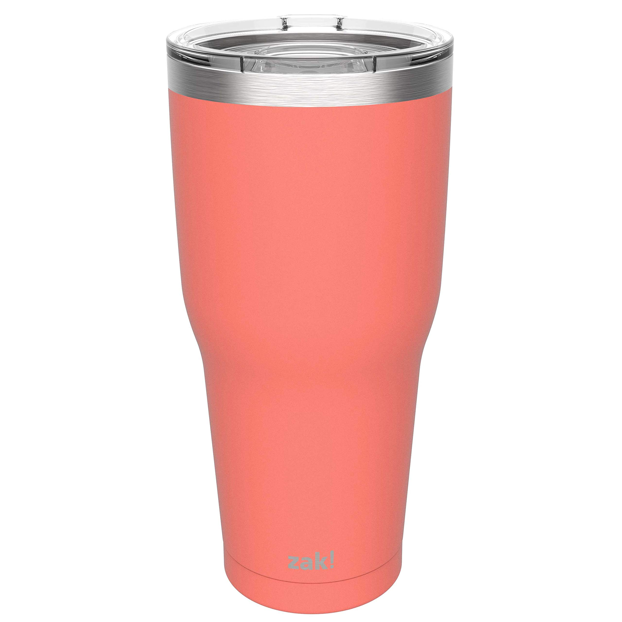 eee1948522c Zak Designs 30oz Stainless Steel Double Wall Vacuum Insulated Tumbler with  Lid - This Splash Proof Travel Mug fits in Most Cup Holders and Keeps  Beverage ...