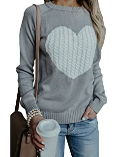 Imysty Womens Valentine s Day Cute Love Heart Ribbed Cable Knitted Crew  Neck Sweater Pullover a9c96066a