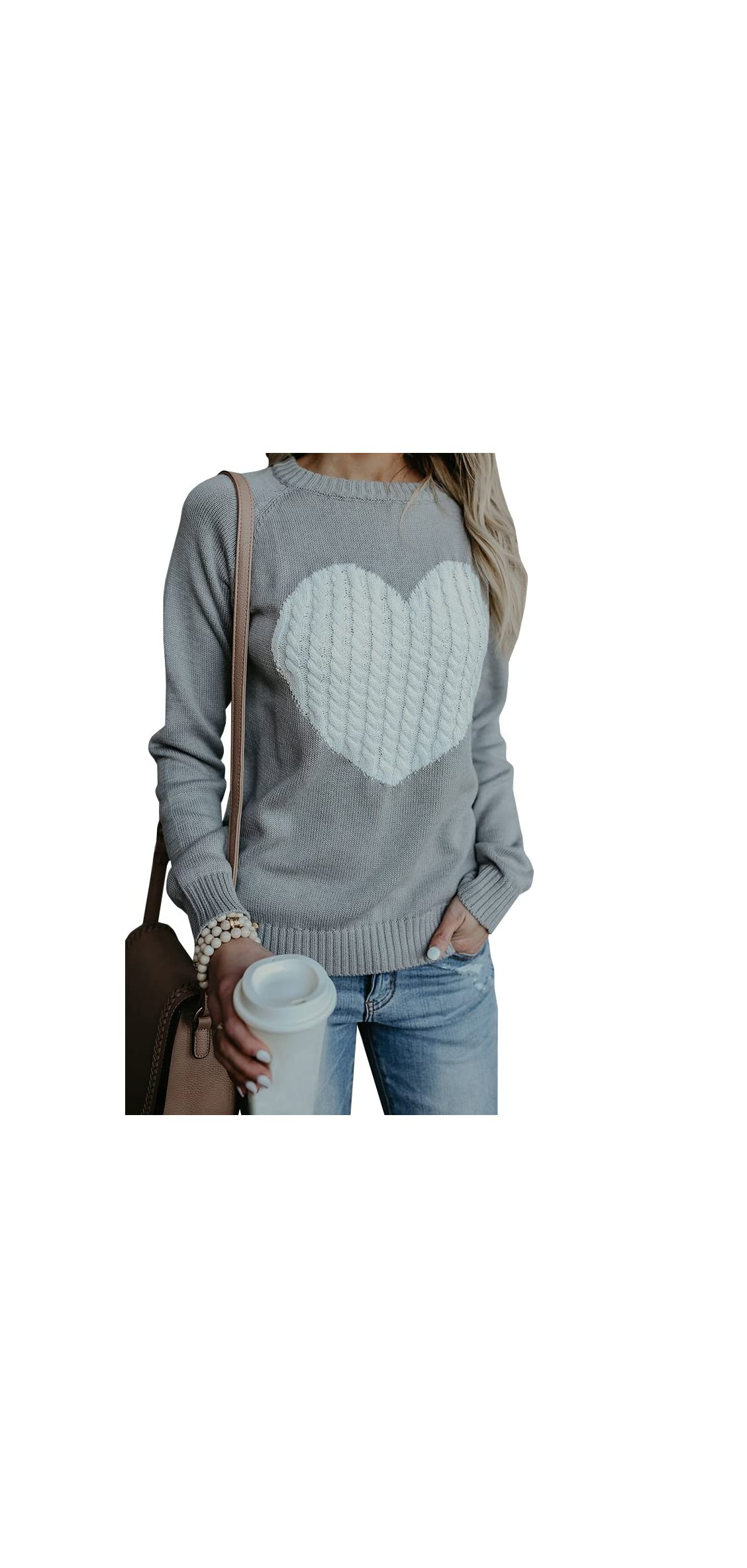 Womens Sweaters Long Sleeve Cute Heart Cable Knitted Day