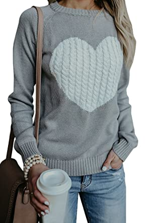 1827b4435 Womens Sweaters Valentine s Day Long Sleeve Cute Heart Cable Knitted  Sweatshirts Pullover Sweater Tops Grey