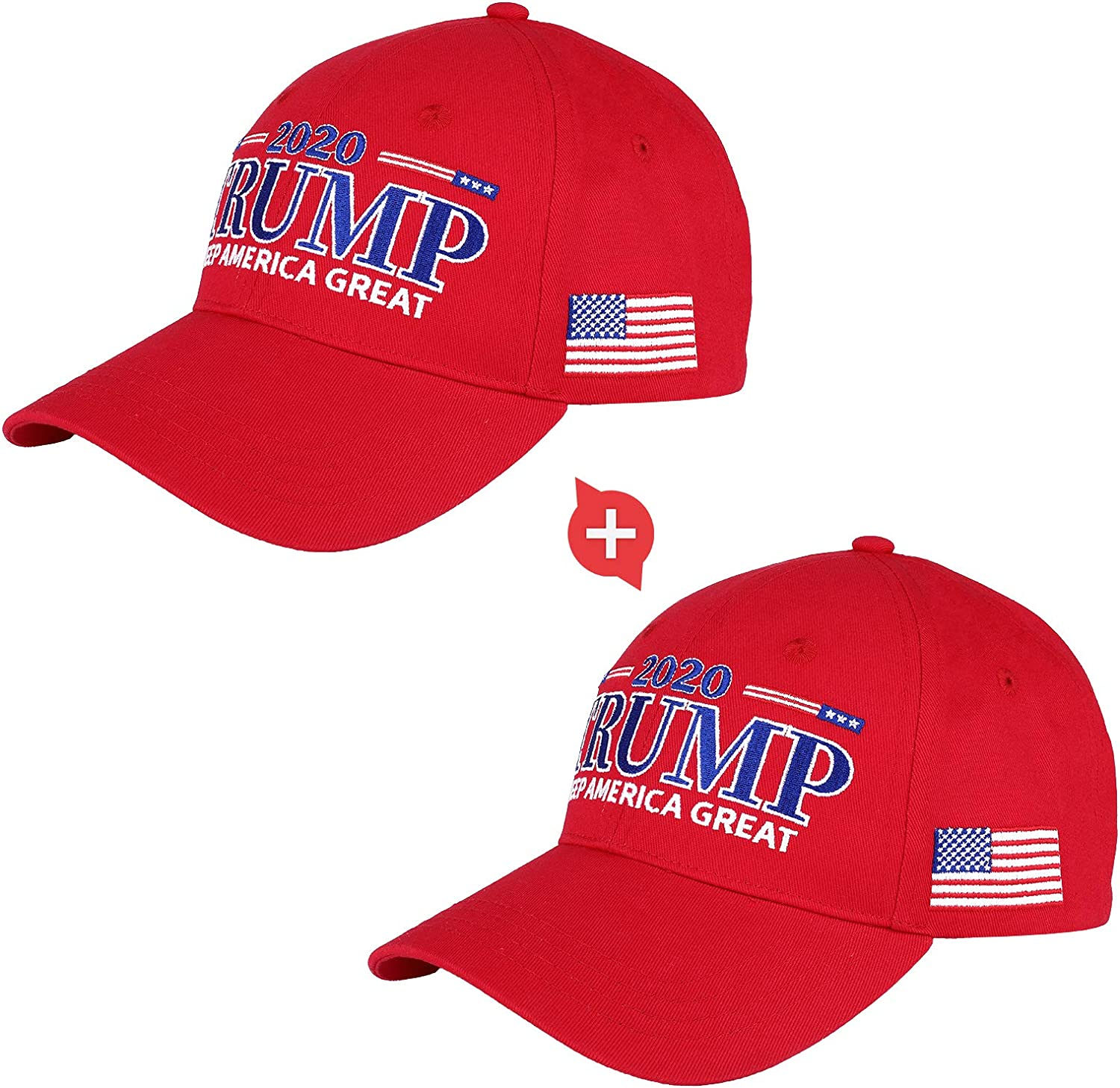 VPCOK Trump 2020 Hat 2 Packs Keep America Great Trump Hats for Men/Wowen, Trump Cap Adjustable Baseball Hat Red and Blue: Clothing