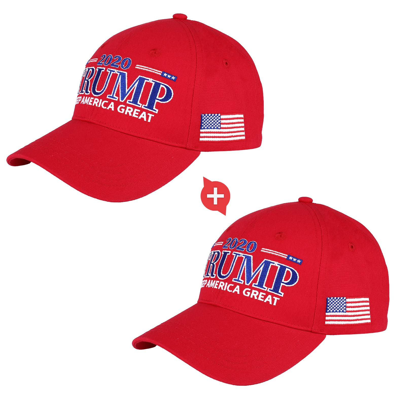 VPCOK Trump 2020 Hat 2 Packs Keep America Great Trump Hats for Men/Wowen, Trump Cap Adjustable Baseball Hat Red and Blue