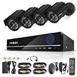 FREDI 8CH Security Camera System Full 960H DVR with 4x 800TVL Superior Night Vision IR Cut Leds indoor/outdoor CCTV Camera(Without Hard Drive)