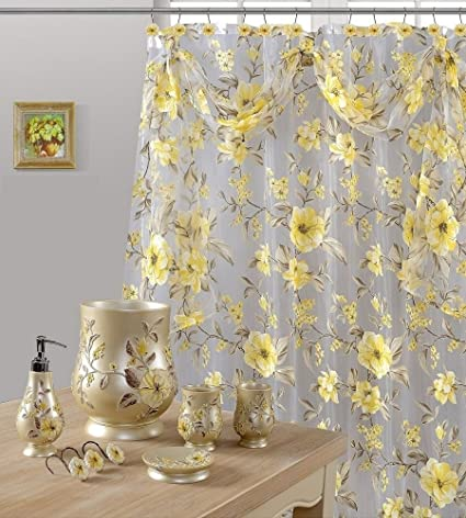 Amazon 7 Piece Melrose Yellow Shower Curtain And Resin