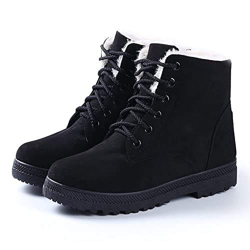 NOT100 Womens Snow Boots for Winter Ankle Boots Combat Walking Shoes  Booties Black Vegan Size 6 bea8056564