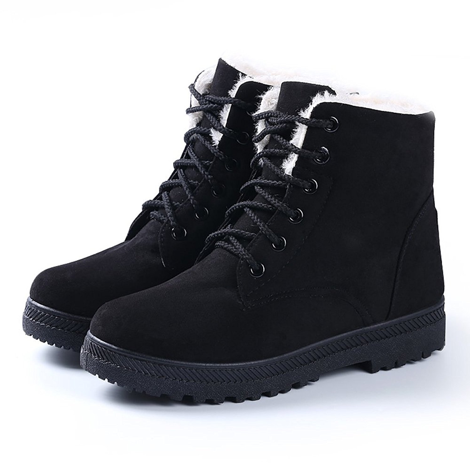 NOT100 Womens Snow Boots for Winter Ankle Boots Combat Walking Shoes Booties Black Vegan Size 7 Wide