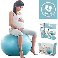 BABYGO Gymnastikball Schwangerschaft Fitness Yoga Core Geburt Ball Sitzball mit Anti-Burst-System 500 KG inkl. Luft-Pumpe + GRATIS Übungsanleitung mit 30 Übungen für alle Trimester 65cm 75cm