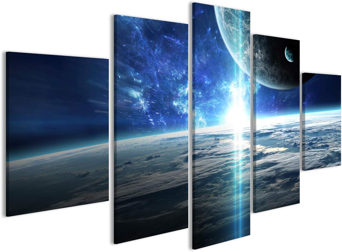 Cuadro Cuadros Escena del Universo con Planetas, Estrellas y Galaxias en el Espacio Impresión sobre Lienzo - Formato Grande - Cuadros Modernos DTS
