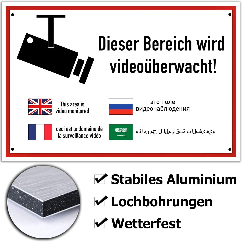 Dieser Bereich wird Videoüberwacht,Hinweisschild,Vorsicht,Holz,20x15cm,Achtung