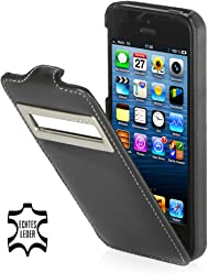 StilGut, Exclusive Étui en cuir UltraSlim pour Apple iPhone 5& iPhone 5s avec identification appels (iOS 6), noir Nappa
