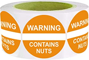 Contains Nuts Labels 1.5 Inch,Orange Red Food Advisory Labels White Imprint Round Circle Dots 500 Adhesive Stickers
