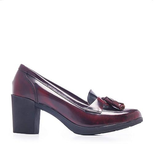 Castellanísimos Mocasines de Mujer con Tacón en Piel Florentic Burdeos: Amazon.es: Zapatos y complementos
