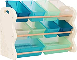 B. spaces by Battat – Totes Tidy Toy Organizer – Kids Furniture Set Storage Unit with 10 Stackable Bins – Ivory, Sea and Mint