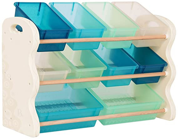 B. Spaces By Battat – Totes Tidy Toy Organizer – Kids Furniture Set Storage Unit With 10 Stackable Bins – Ivory, Sea And Mint by B. Spaces By Battat