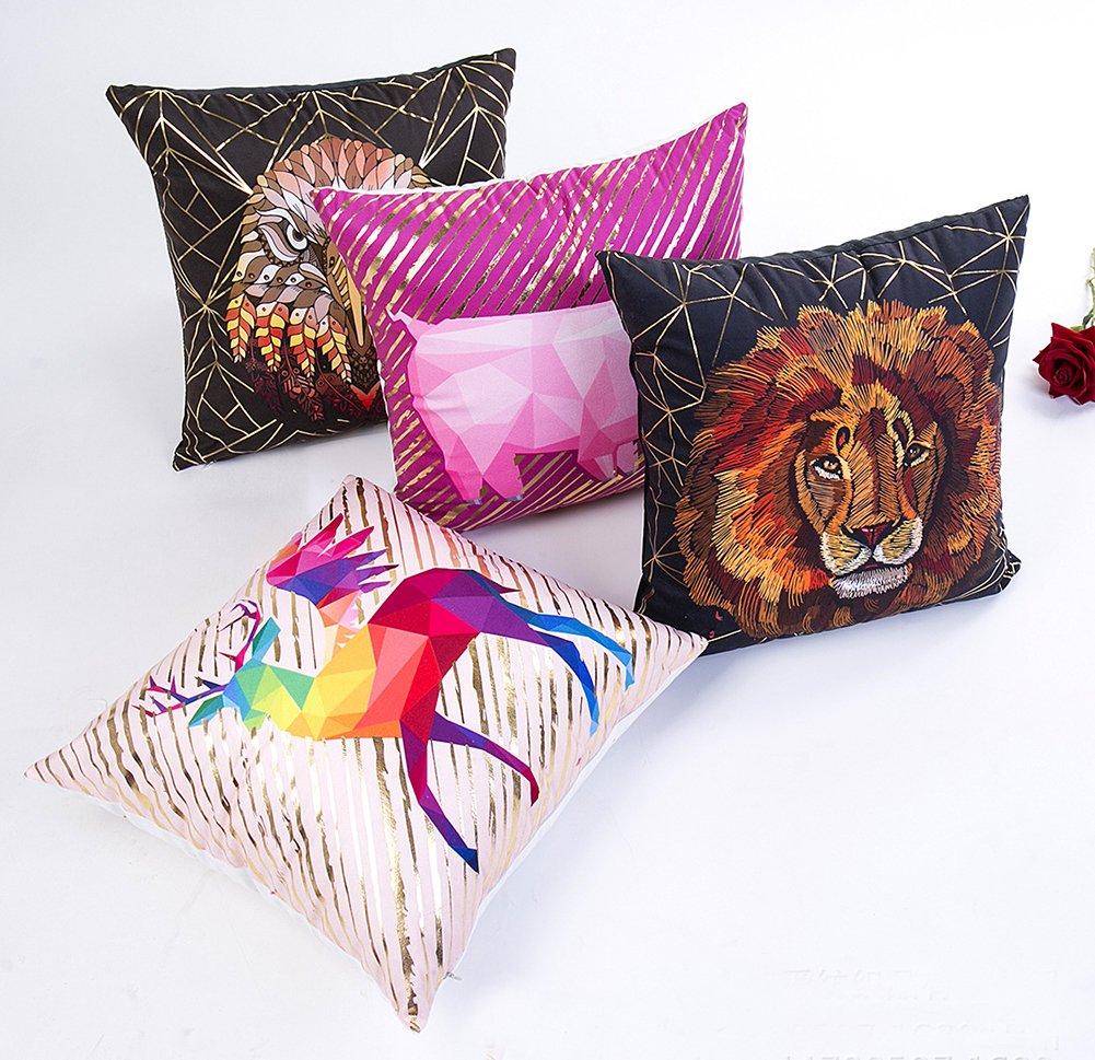 a 45/×45CM Bett Stuhl Tonpot 1/Pcs Dekorative Gold Folie 3D Tier Kopfkissenbezug Quadratisch /Überwurf Kissen Bezug Creative Kissen Bezug f/ür Sofa