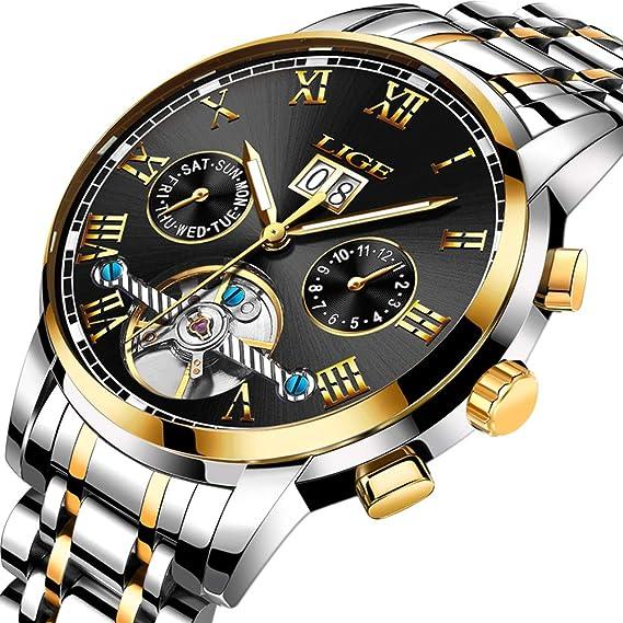 Relojes para Hombres de Acero Inoxidable con Fecha Multifuncional Reloj mecánico automático Hombres LIGE Top Marca