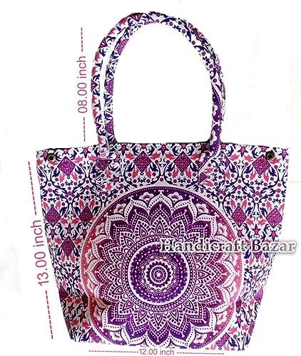 Handicraft Bazarr- Bolsas de la compra de algodón de diseño moderno, diseño floral, bohemio, étnico, para mujer, hechas a mano, de algodón, diseño de mandala, bolsa de tela, tapiz de mandala: Amazon.es: