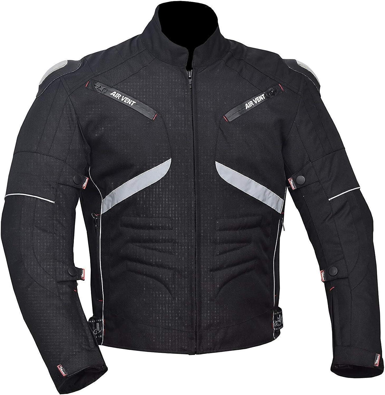 NORMAN Motorcycle Motorbike Cordura Mens Jacket Waterproof Textile Black CE Armoured Black