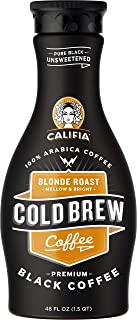 product image for Califia Farms Pure Black Unsweetened Blond Roast Cold Brew Coffee, 48 Oz (Pack of 8) | Premium Arabica | Dairy Free | Keto | Whole30 | Plant Based | Nut Milk | Vegan | Non-GMO