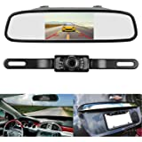 Emmako Backup Camera and Mirror Monitor Kit 4.3 display licence Plate rear view Camera system only need single power for Rear view or Fulltime View optional With 7 LED Night Vision waterproof for Car