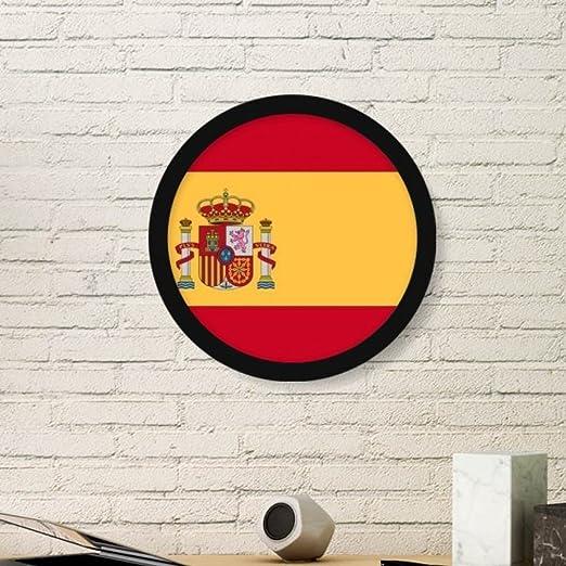 DIYthinker España Nacional a la Bandera Europa País Símbolo de la Marca Modelo Redondo Simple Marco de Fotos de Cuadros de Pinturas Pared del hogar de la Etiqueta Medio Negro: Amazon.es: Hogar