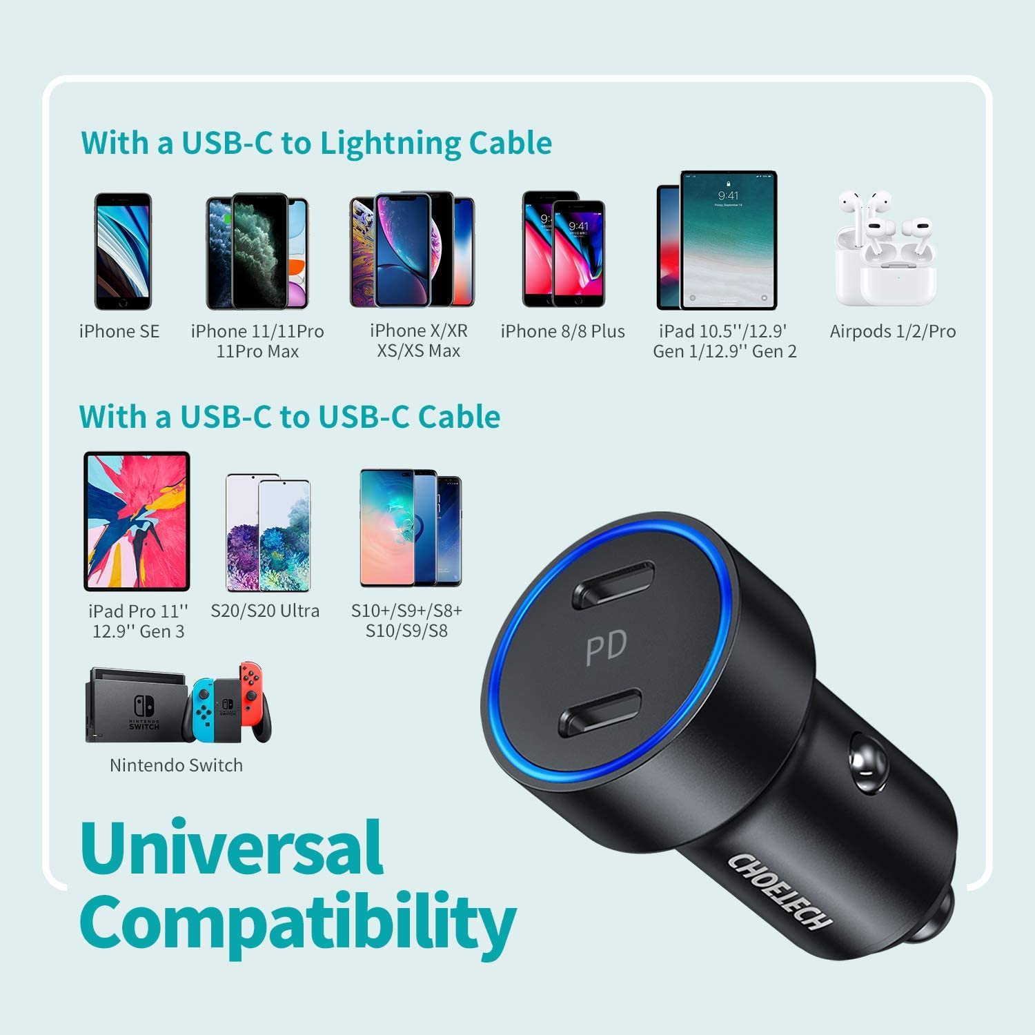 iPad Pro USB C Car Charger CHOETECH 36W 2-Port Fast PD 3.0 All Metal Type C Car Charger Adapter with Dual 18W Power Delivery Compatible iPhone 12//11//11 Pro//11 Pro Max//XS//SE,Galaxy S20//S10,Pixel 3//2