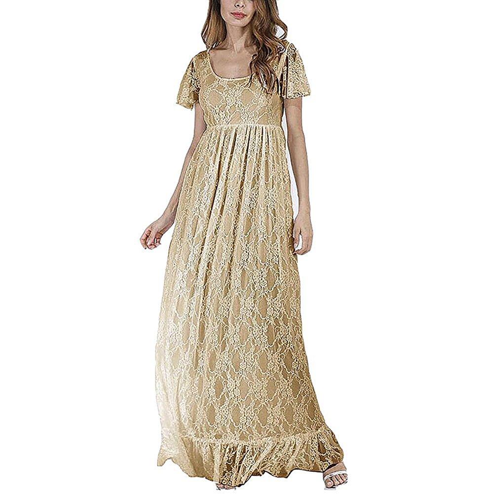 IWEMEK Elegantes Damen Umstandskleid Mutterschaft Fotografie Kleid Schwangerschafts Kleid Spitzenkleid Empire Kleid Spitzen Rundhals Kurze Ärmel MaxiKleid Plus Größen