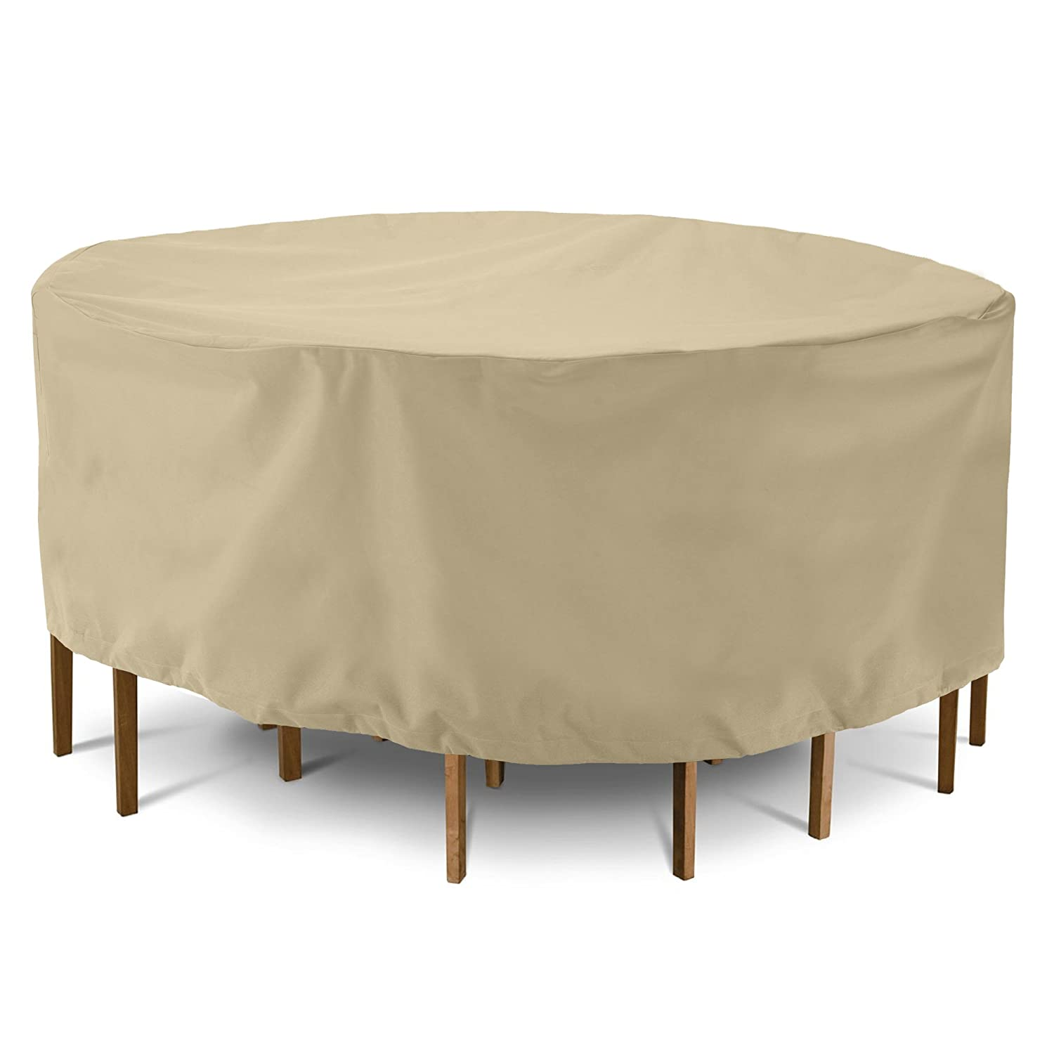 Waterproof Patio Round Furniture Set Cover 72 Dia x 30 H SunPatio Outdoor Table and Chair Cover All Weather Protection Heavy Duty Dining Table Set Cover Beige