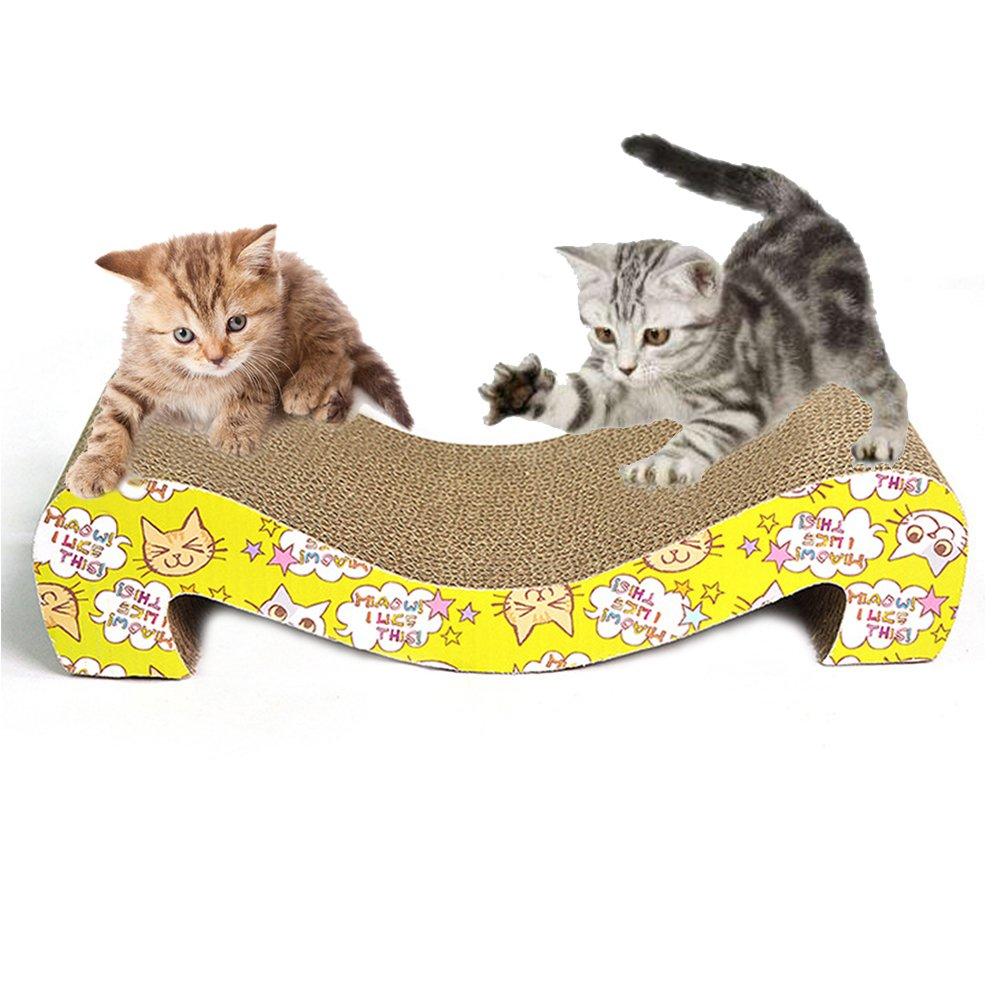 Bartonisen Cat Scratcher Cardboard Pet Corrugated Pad with Catnip M Shaped Cat Scratcher Lounge