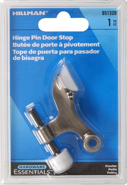 Hillman Hardware Essentials 851320 Hinge Pin Door Stops Solid and Hollow Doors Pewter