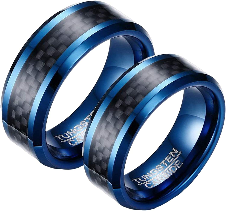 AnazoZ 1 Par Anillo Boda Pareja Anillos Tungsteno Parejas Azul Negro Anillo Fibra de Carbon 8mm