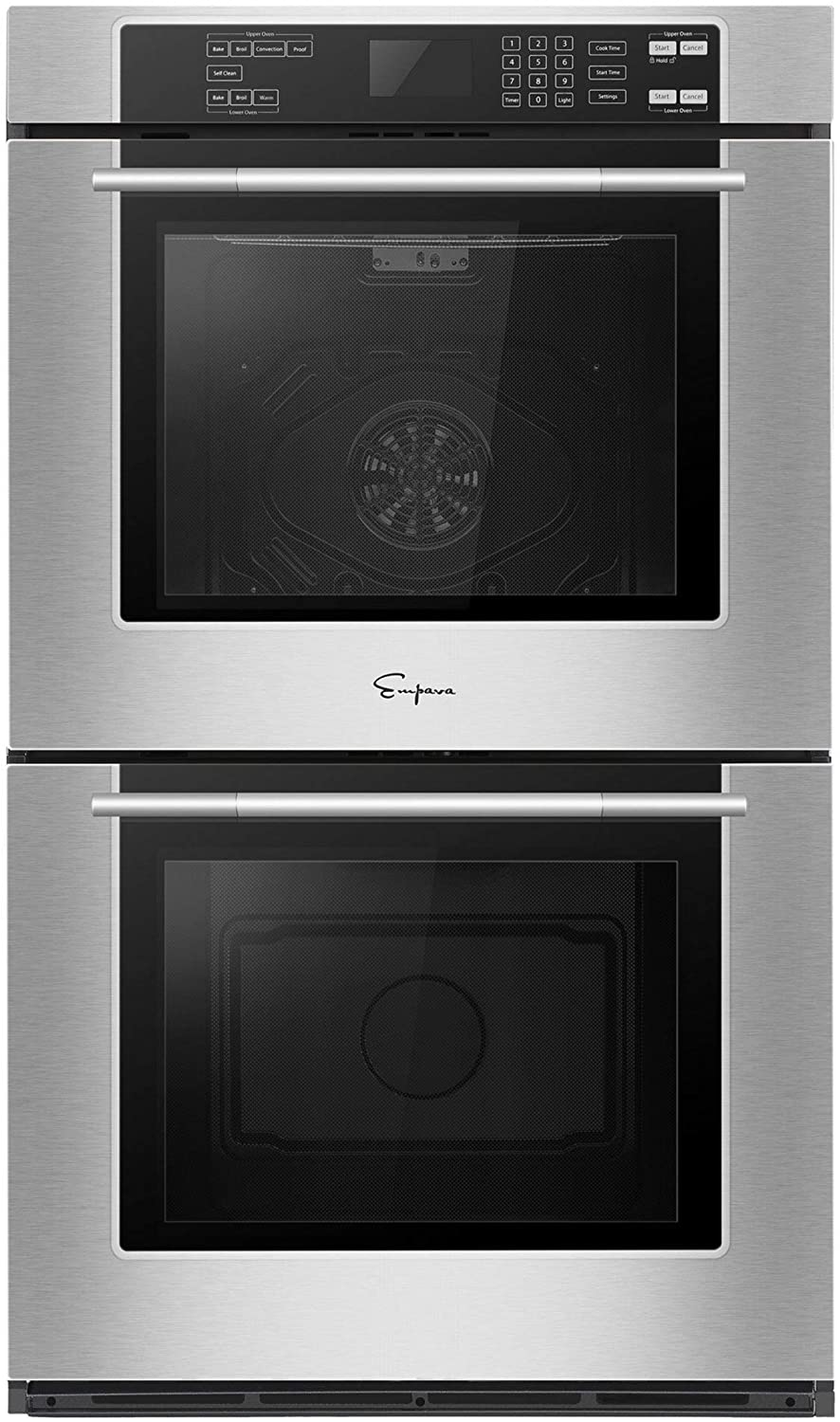 Empava 30 in Electric Double Wall Ovens Built-in Self-cleaning Convection Fan Touch Control EMPV-30WO02, Stainless Steel
