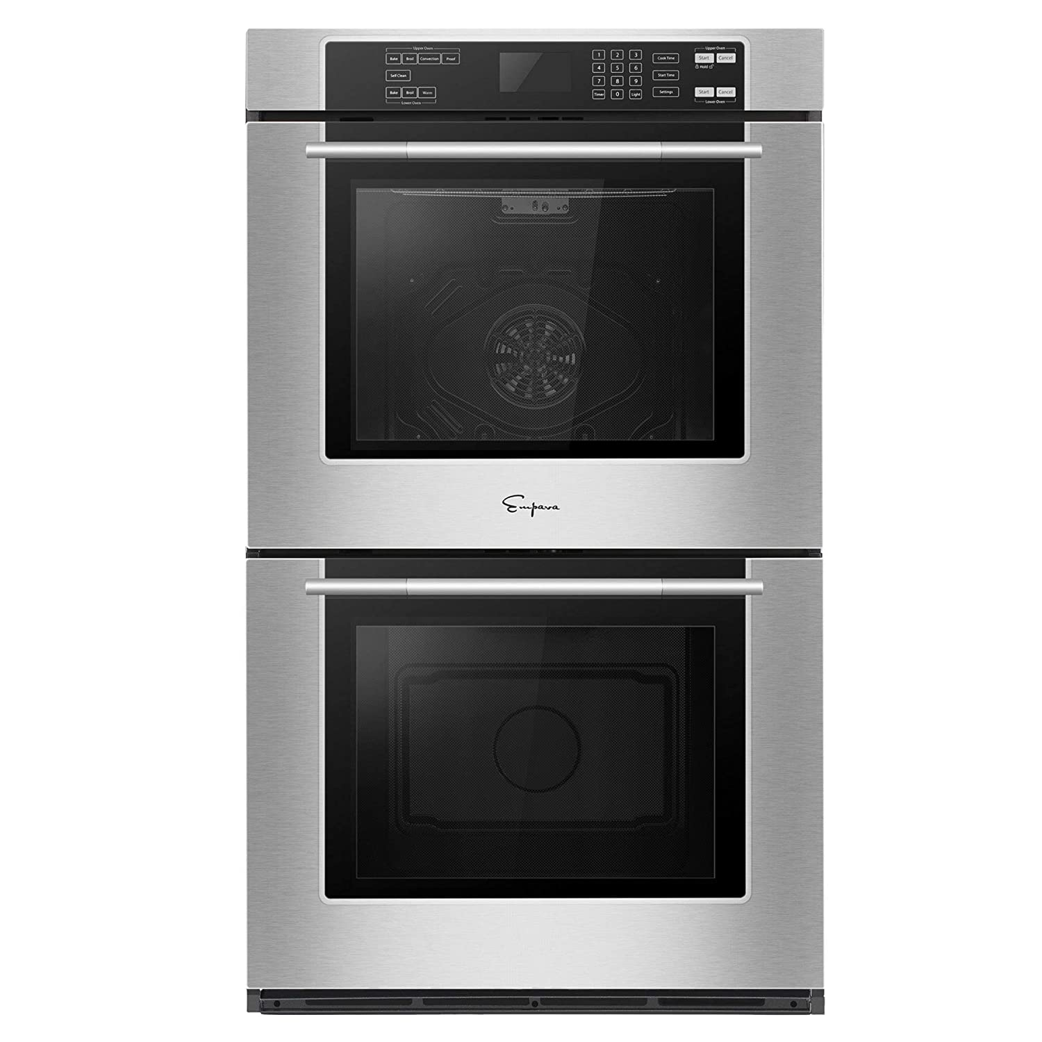 Empava 30 in 10 cu. ft. Total Capacity Electric Double Wall 4 Oven Racks Self-cleaning Convection Fan Touch Control in Stainless Steel Black, 30 Inch