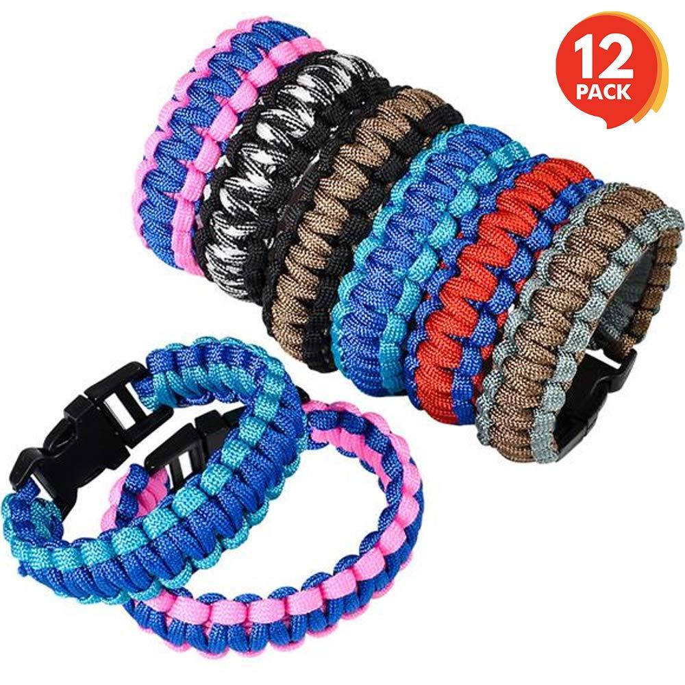 "ArtCreativity Paracord Buckle Bracelets (Pack of 12) | 9"" Two-Tone Color Scheme Bracelets | Cobra Bracelets | Fashionable Party Favor and Carnival Prize"