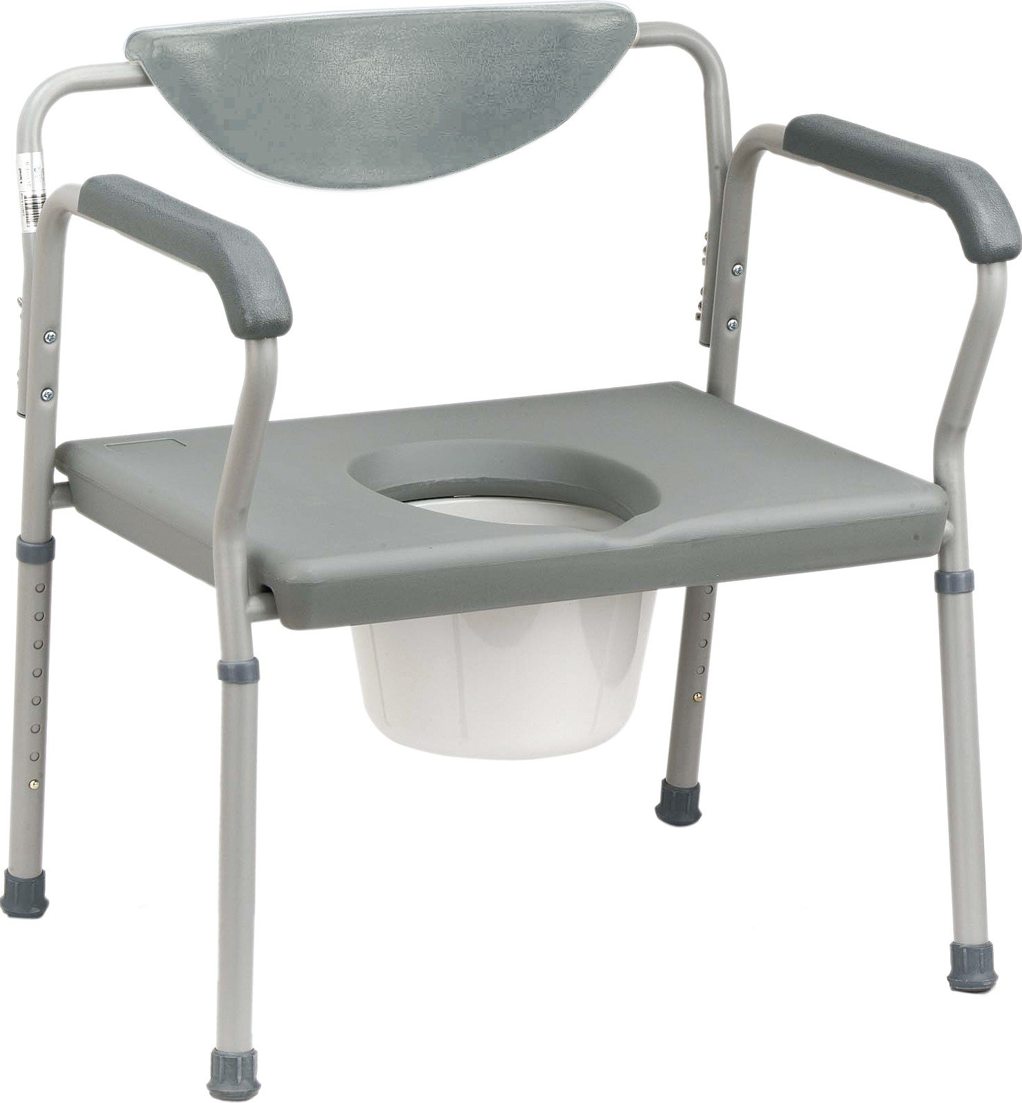 Commode - Deluxe extra wide, heavy duty steel adjustable blow molded commode with removable back rest, 3 in 1 capability. Overall width 26'', back height adjusts from 29 1/2'' - 36 1/2'', seat height adjust from 16 1/2'' - 23 1/2'', seat width 23'', 24'' between