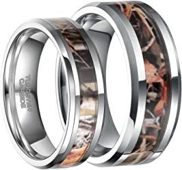 f80b2f0a1d Frank S.Burton 6mm 8mm Camo Wedding Bands for Men Women Hunting Tungsten  Carbide Rings