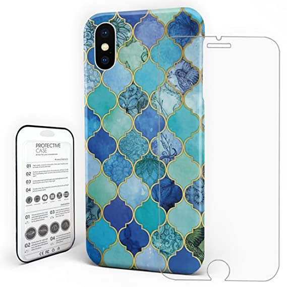 cobalt blue aqua gold decorative iphone case