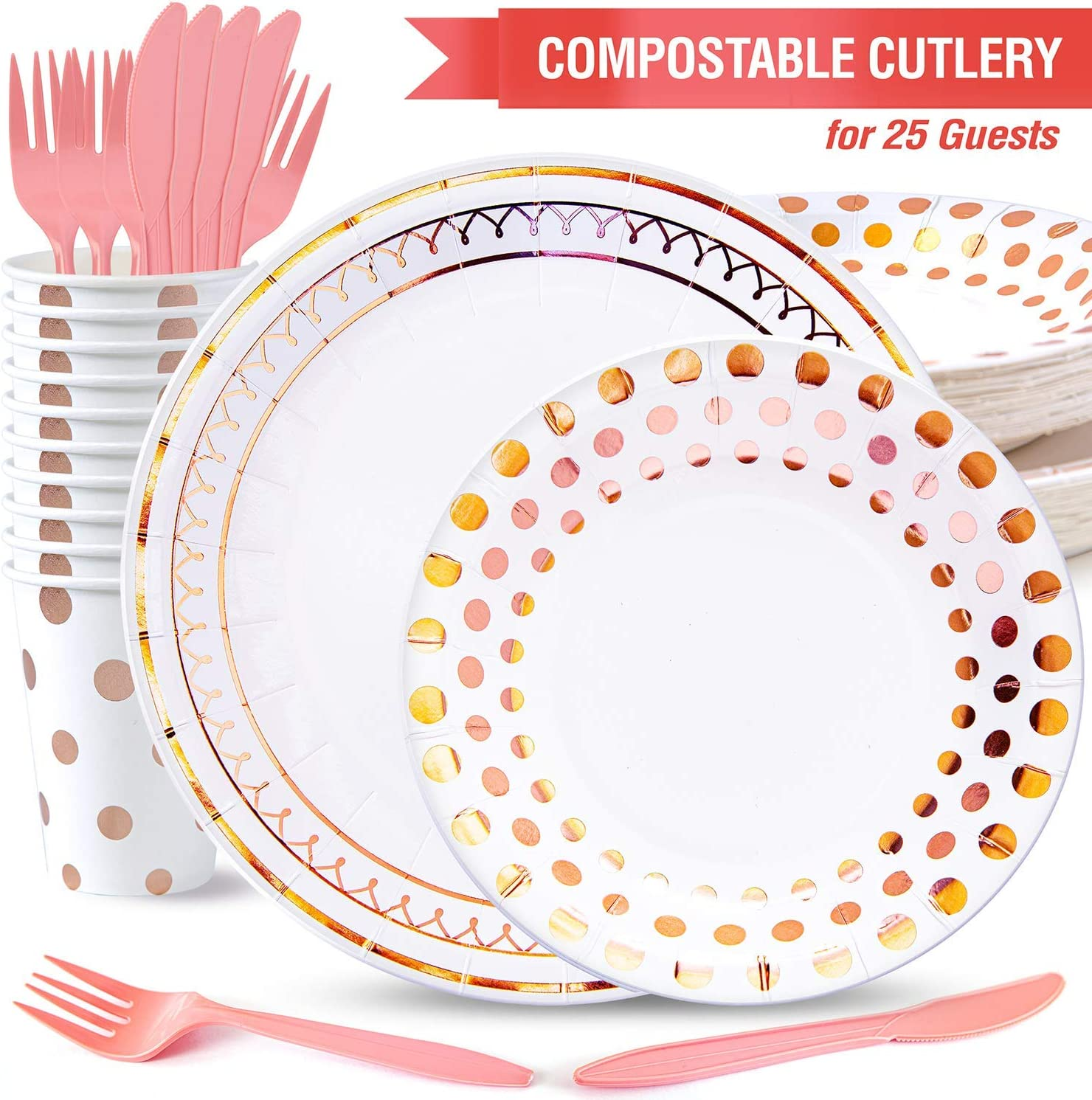Baby Shower Rose Gold Party Decorations Sweet 16 Party Supplies Pink and Gold Party Supplies Kiki Green Rose Gold Paper Plates Set 125pcs Compostable Paper Plates Rose Gold Party Plates and Cups