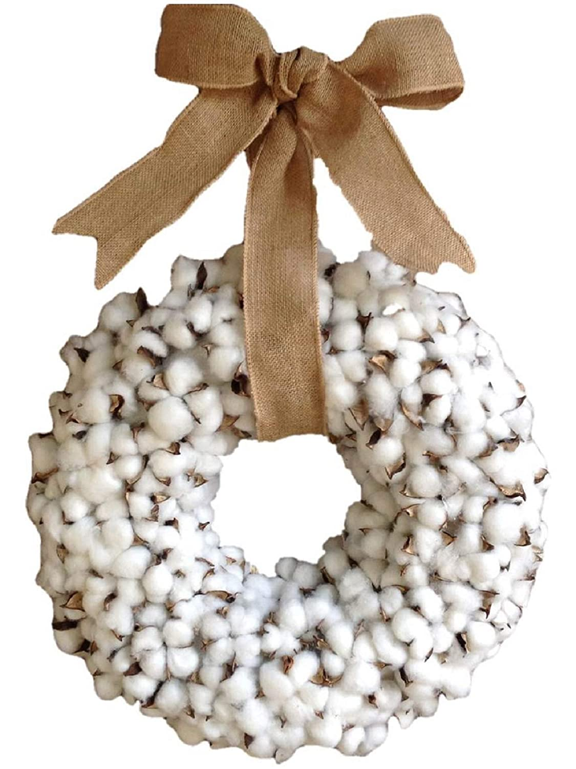 Flora Décor Vintage Faux Cotton Wreath Burlap Bow - 20