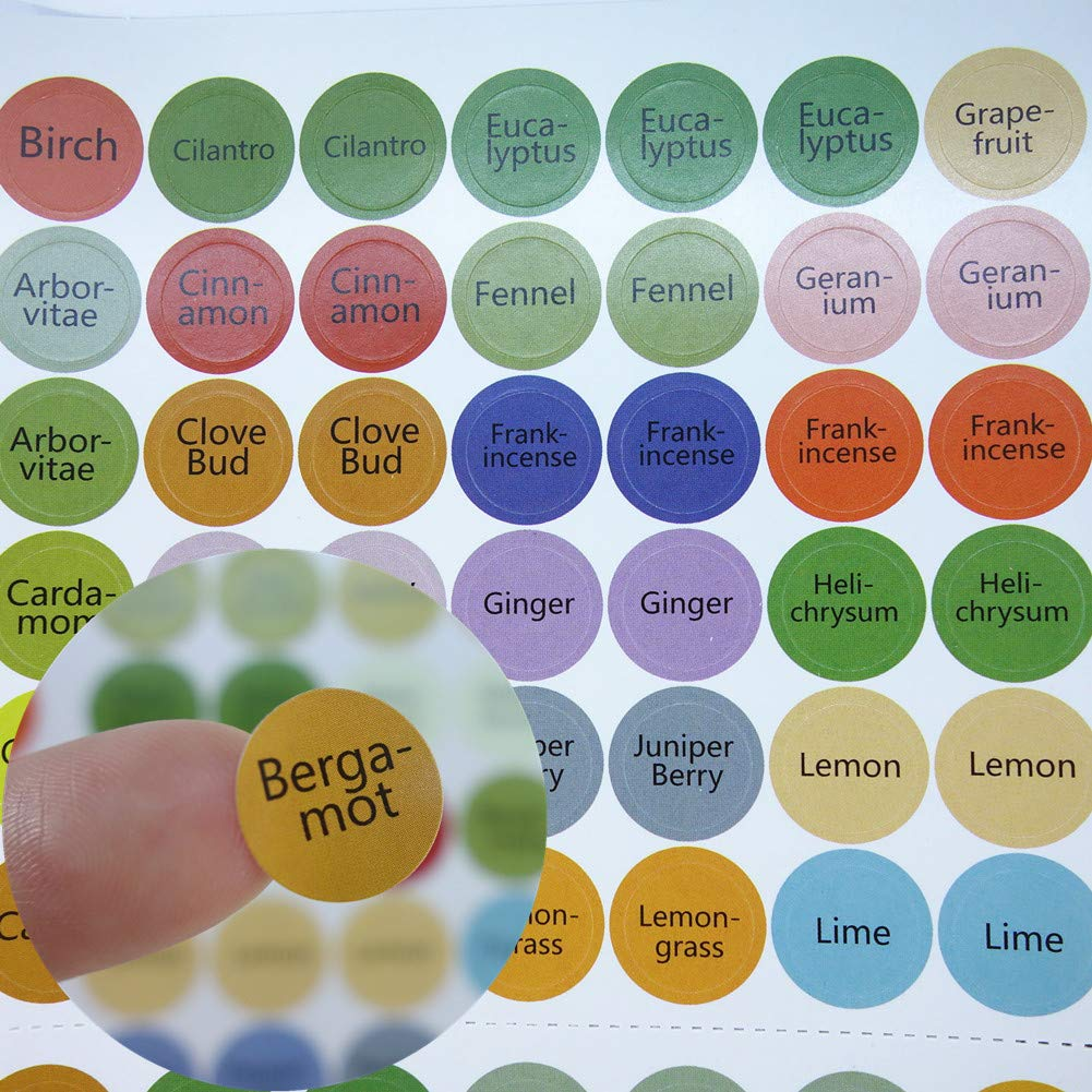 Essential Oil Bottle Cap Labels 576 Cap Stickers Blends + Blanks For ml Roller Bottles, Aromatherapy Set, Organizer Storage Case, Wooden Box-Perfect Lid Stickers to Keep Your Oils Organized ROMIRUS OS+3