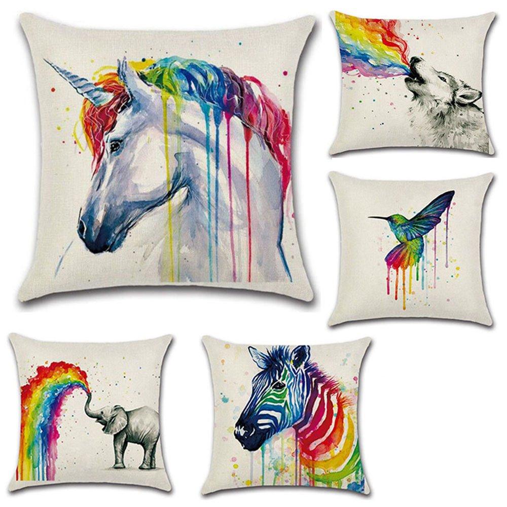 lvedu 5 Pack fundas de almohada colorida Animal unicornio ...