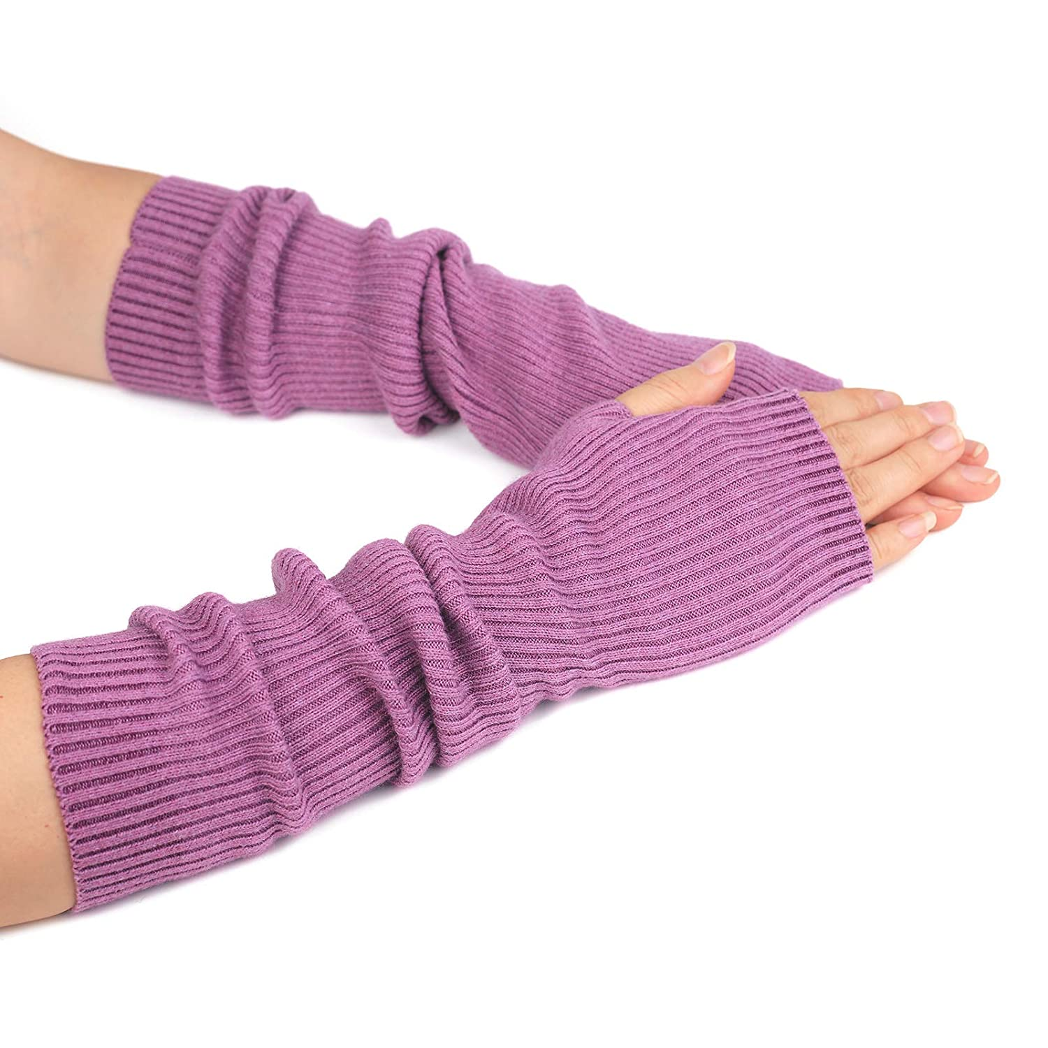Flammi Women Knit Fingerless Gloves Mittens Arm Warmers Cashmere Thumb Hole Long Gloves M-B2004